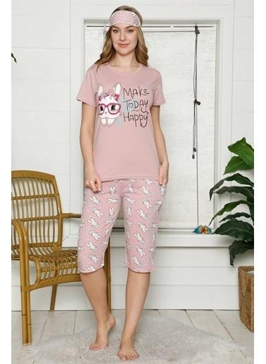 Akbeniz Kadın %100 Pamuk Penye Kısa Kol Kapri Pijama Takım 3535 Vizon
